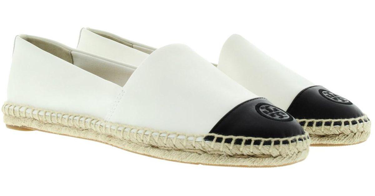 4d07bb9950b Tory Burch Metallic Espadrille Flats in White - Save 47% - Lyst