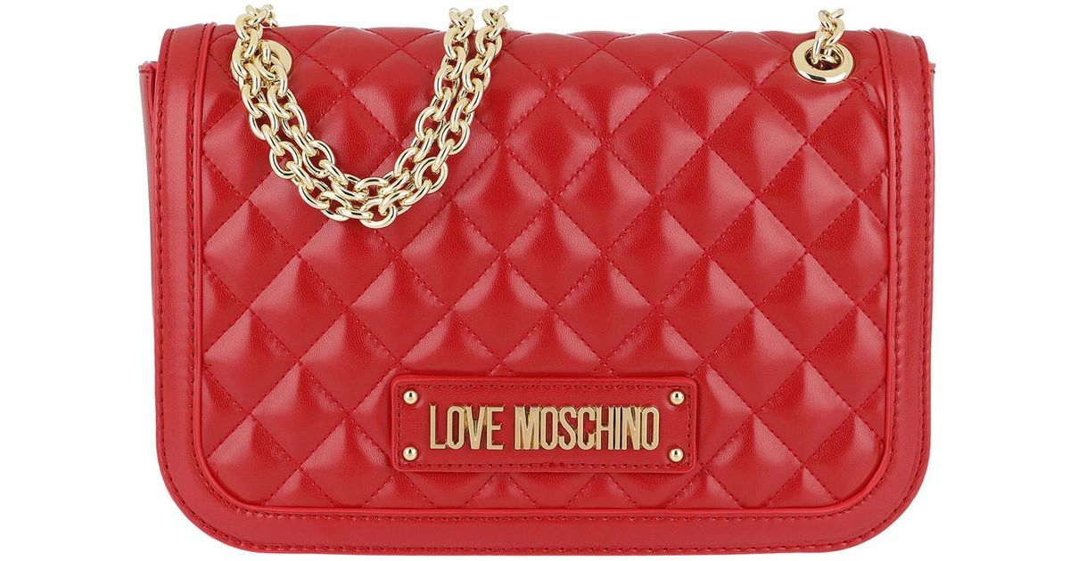 f478a6eea6bb Love Moschino Quilted Nappa Pu Chain Crossbody Bag Rosso in Red - Lyst