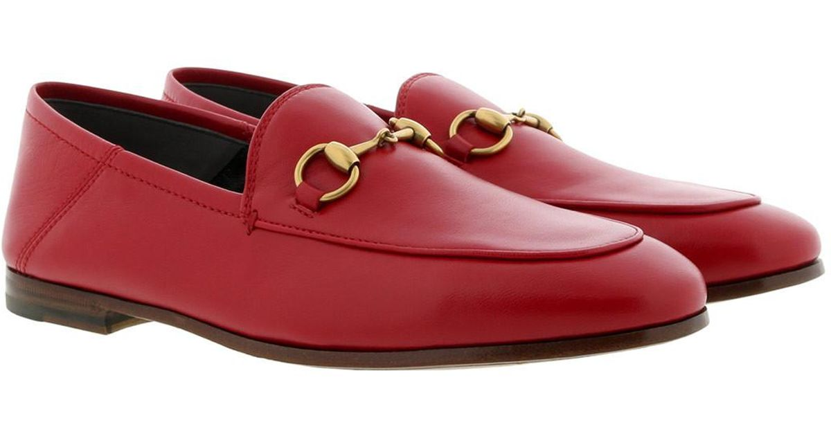 07563fd4550d Gucci Jordaan Leather Loafer in Red - Save 28% - Lyst