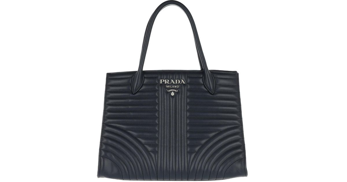 587b3015537236 ... france prada diagramme tote calfskin leather baltico in blue lyst 2c95f  9c2de