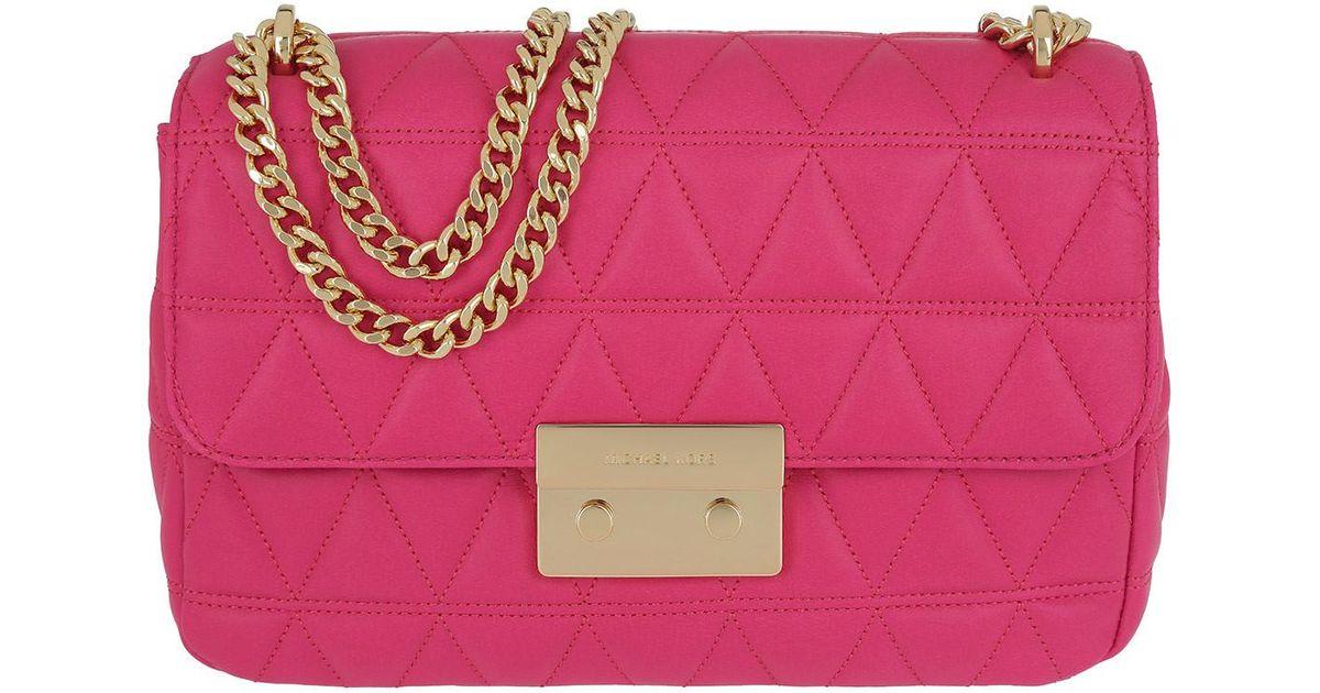 fa225b9fec3 Michael Kors Sloan Lg Gold Chain Shoulder Ultra Pink in Pink - Lyst