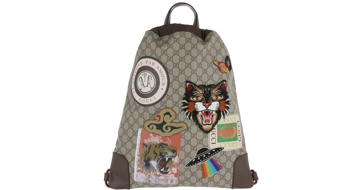 5d5eebc12ec4 Gucci Courrier Soft Gg Supreme Drawstring Backpack Beige ebony in Natural -  Lyst