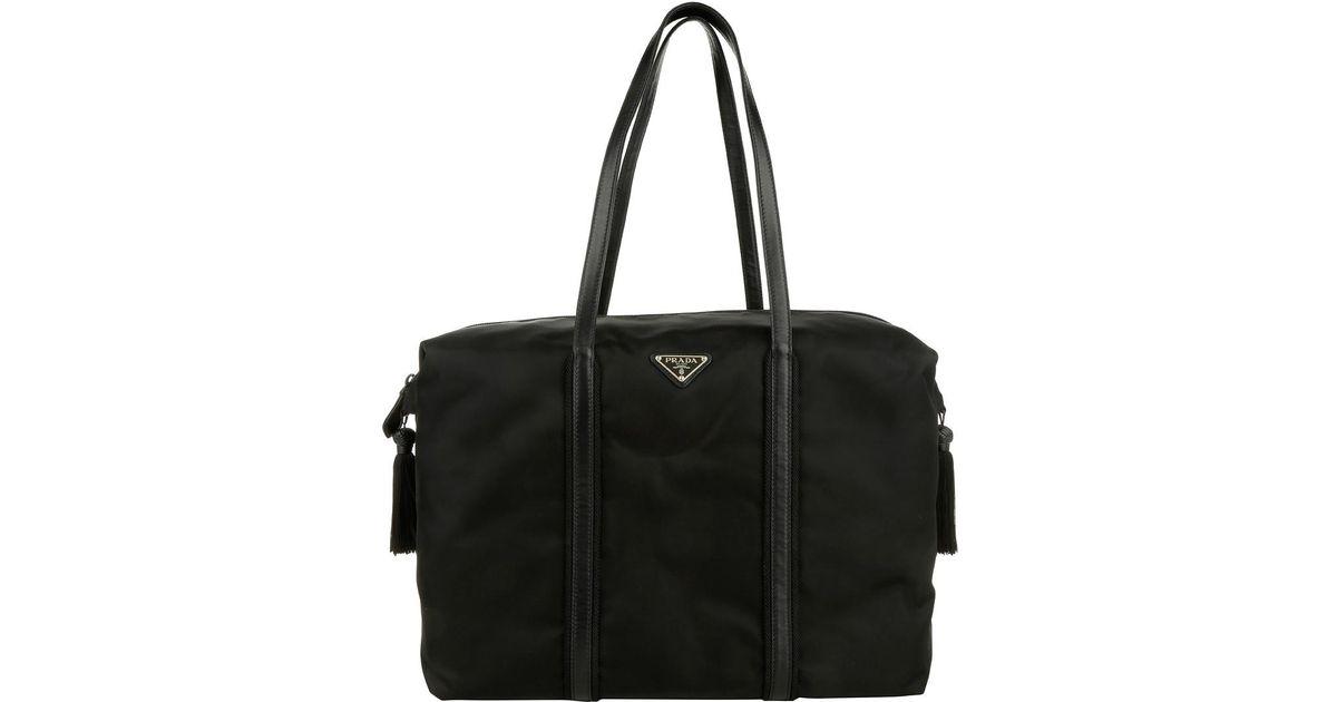 2949db0d01d8 Prada Shopping Bag Tessuto Passama Nero - Lyst