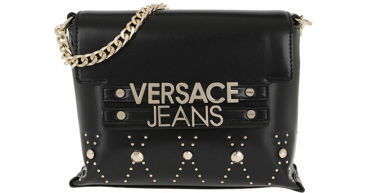 Versace Jeans Logo Chain Crossbody Bag Black in Black - Lyst ab71200aac44b