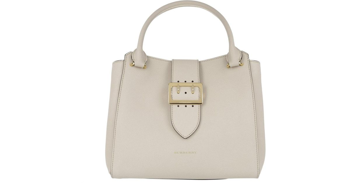 4f14773f87a9 Burberry Buckle Medium Grained Leather Tote Limestone - Lyst