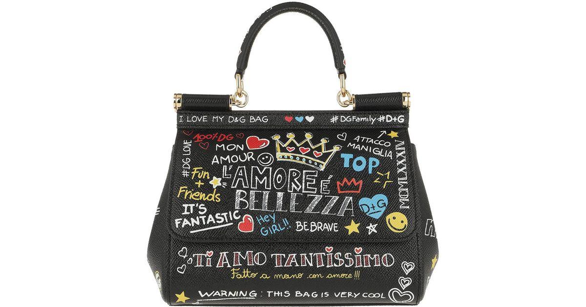 Dolce   Gabbana Sicily Mini Bag Mural Print Leather Murales in Black - Lyst 3498c0519ea