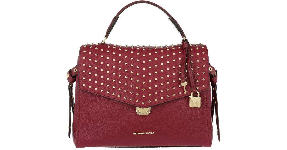 3707612eb9a ... spain michael kors lenox md th satchel mulberry in red lyst a6b88 f8a1e