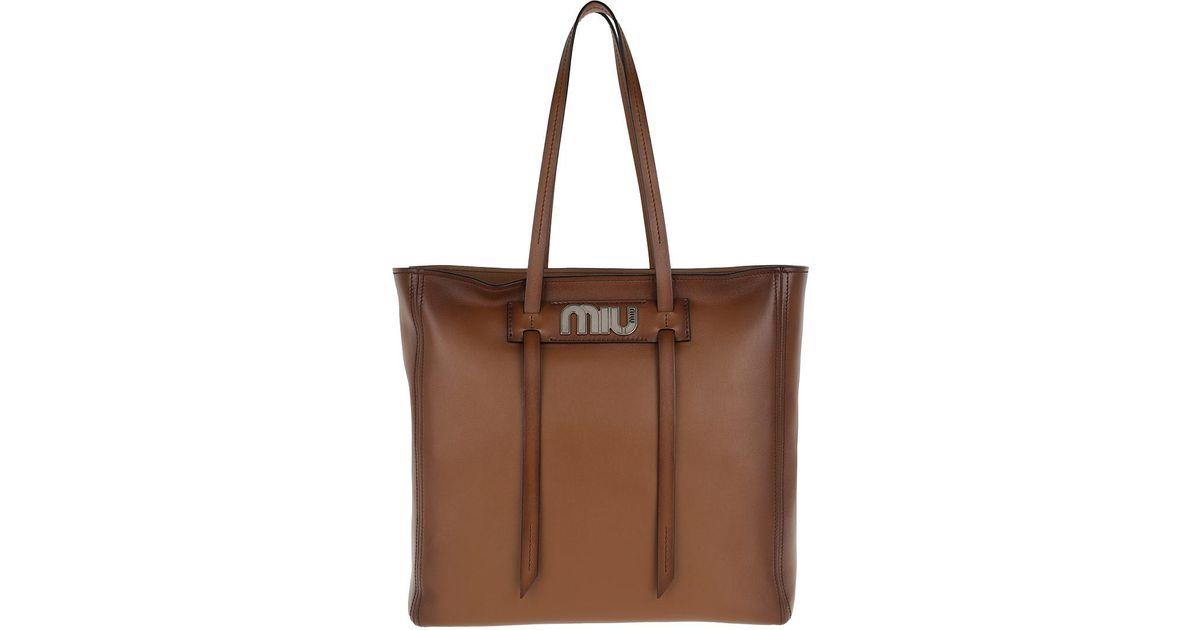 f0be897a9e0b Miu Miu Grace Lux Soft Leather Shopping Bag Cognac in Brown - Lyst