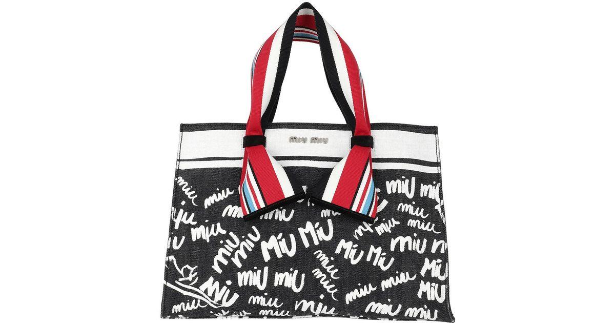 Miu Miu Denim Logo Shopping Bag Nero bianco - Lyst 31057d0fe28a3