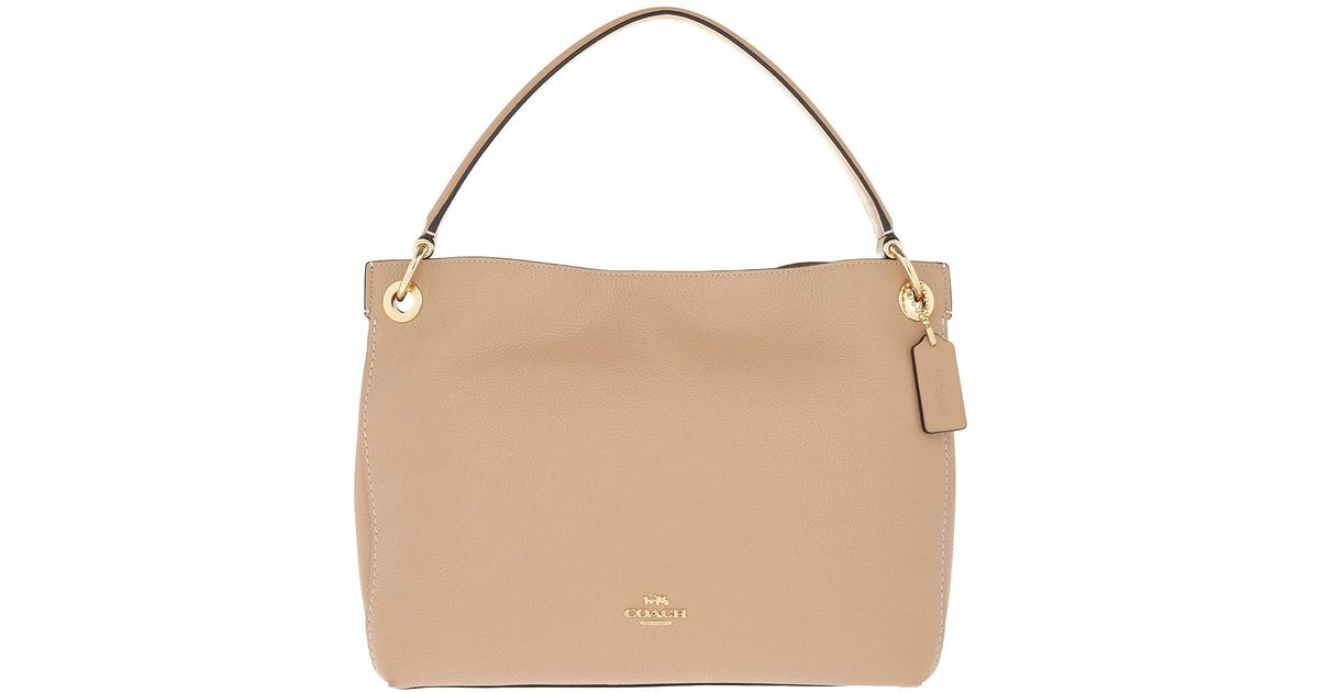3aebb429f5841 COACH Polished Pebbled Leather Clarkson Hobo Bag Beechwood in Natural - Lyst