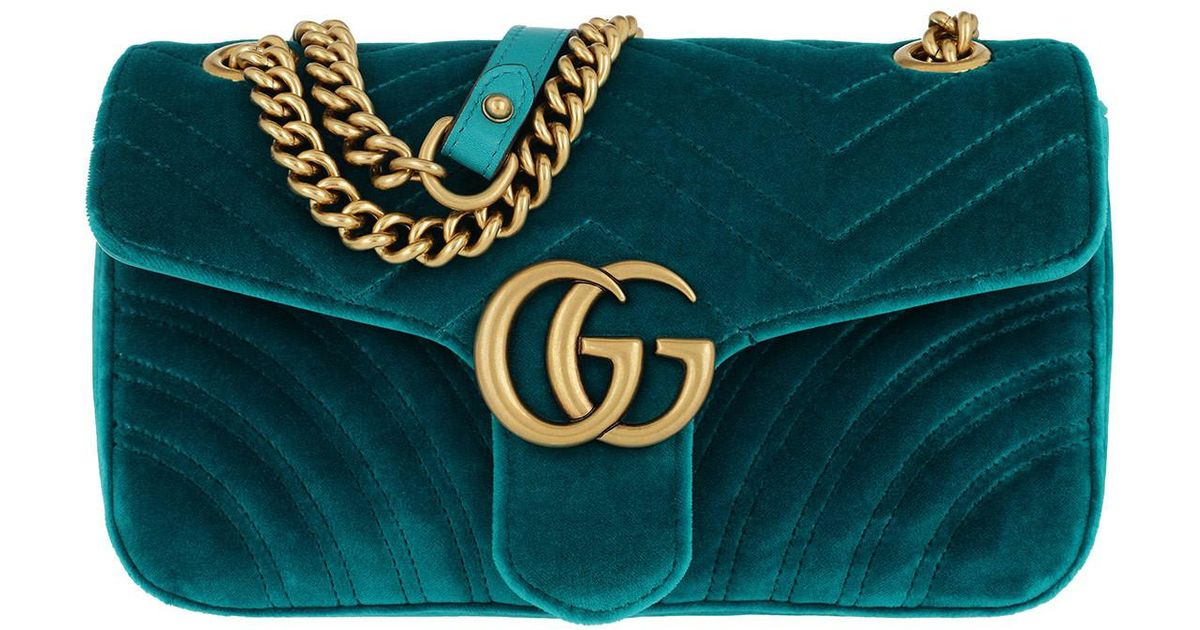 286fe90eddb34 Gucci GG Marmont Shoulder Bag Velvet Petrol in Blue - Lyst