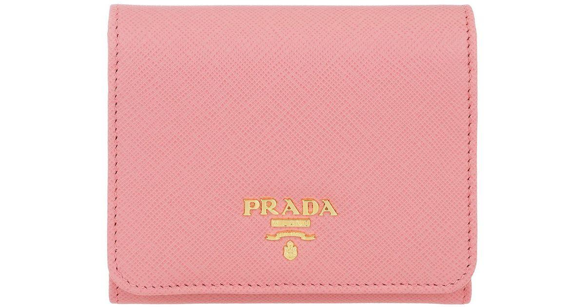 f0464cae6da445 Prada Small Wallet Saffiano Leather Petalo in Pink - Lyst