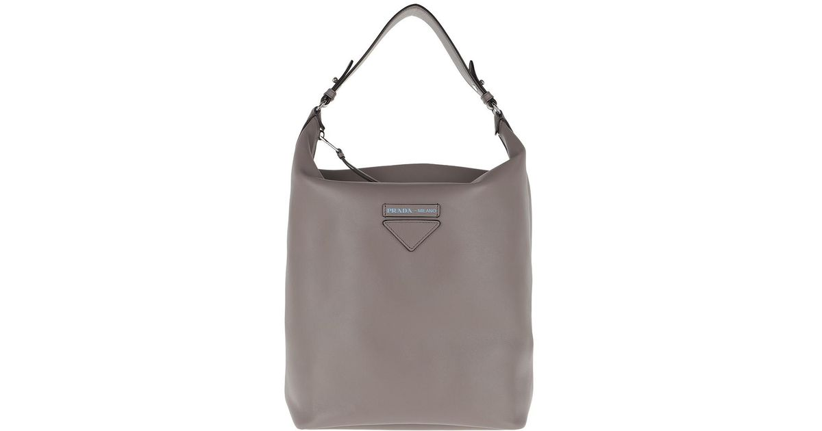 885a0d6112a4 switzerland prada vitello daino single strap hobo bag gray argilla a41d2  2f684  czech prada etiquette hobo bag leather argilla in gray lyst 83ed6  bebd0