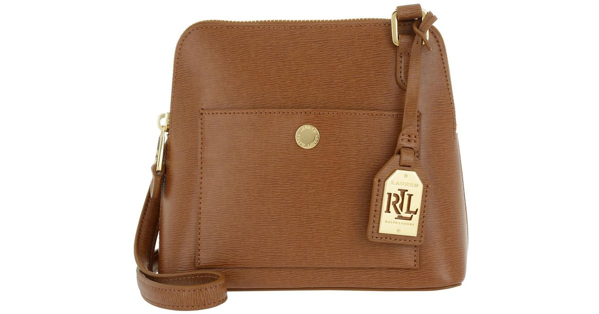 e4d279c328 Lauren by Ralph Lauren Bailey Dome Saffiano Cross Body Lauren Tan in Brown  - Lyst