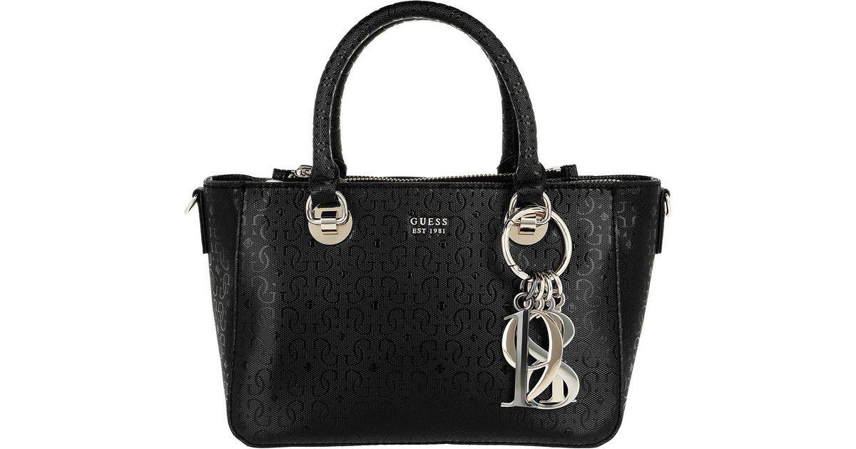 066b3aef9611 Guess Tamra Small Society Satchel Bag Black in Black - Lyst