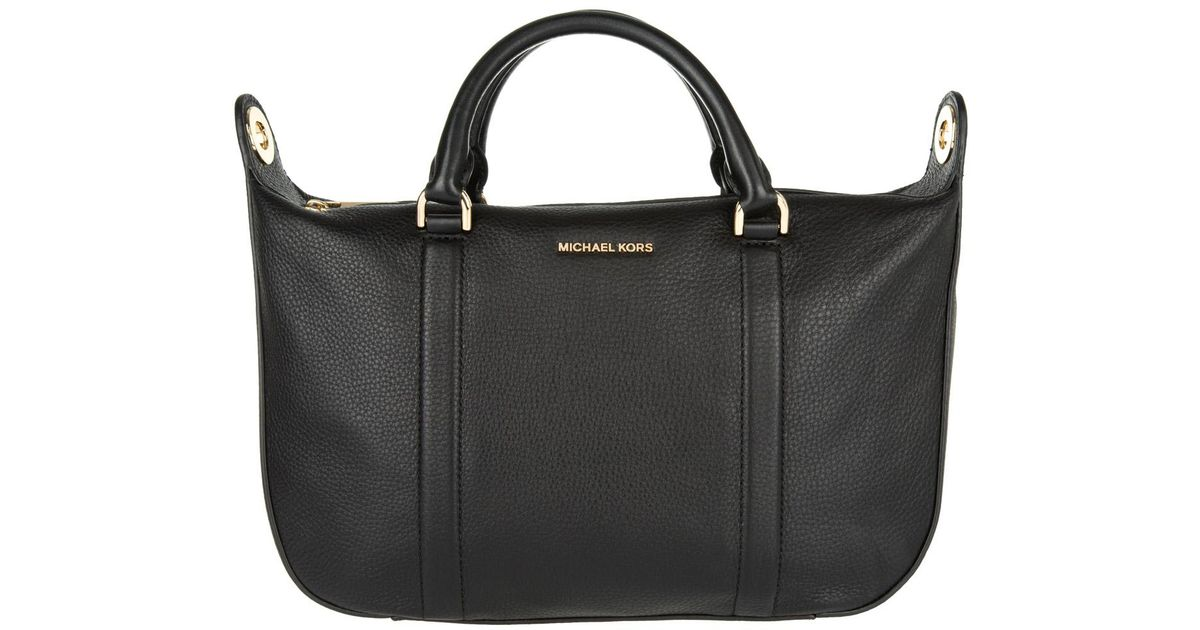 0f5365150a2b Michael Kors Raven Lg Satchel Bag Leather Black in Black - Lyst