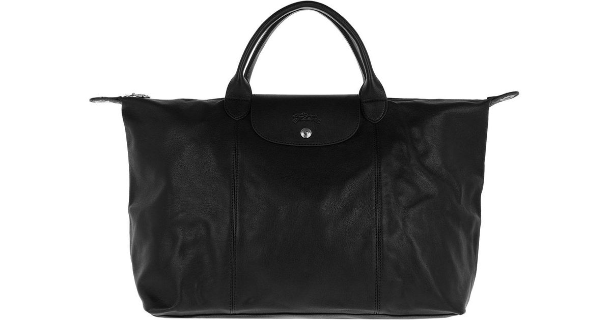 48959619dc51 Longchamp Le Pliage Leather Shopping Bag Black in Black - Lyst