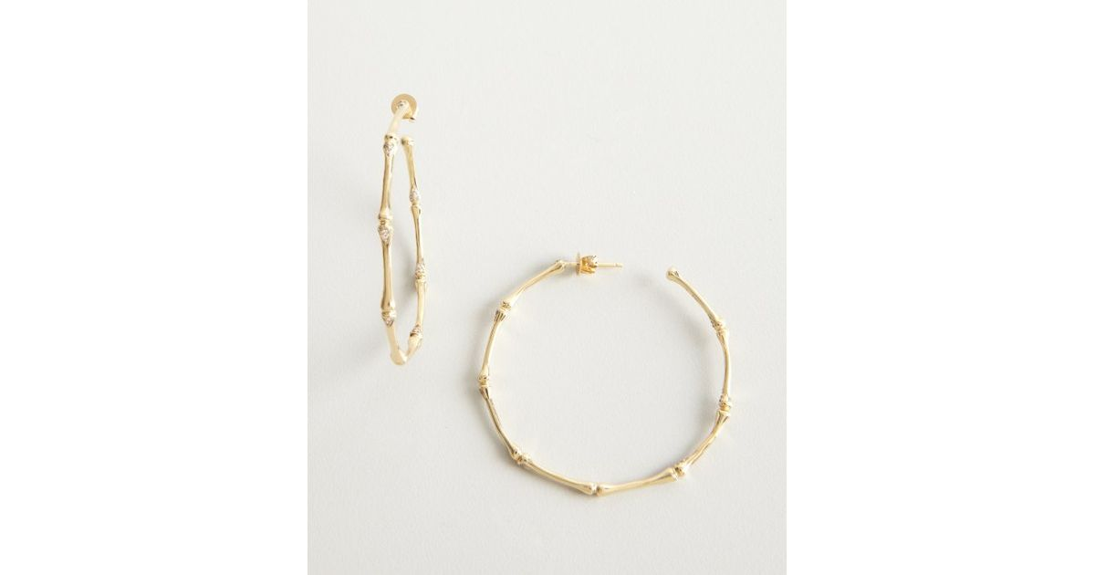 Lyst Sydney evan Diamond And Gold Small Bamboo Thin Hoop