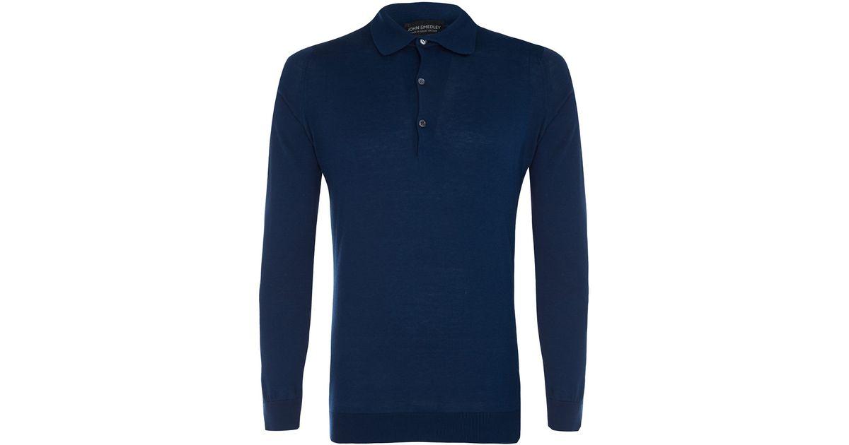 Lyst - John Smedley Dark Blue Exeter Long Sleeve Cotton Polo Shirt in Blue  for Men 6873289a6991