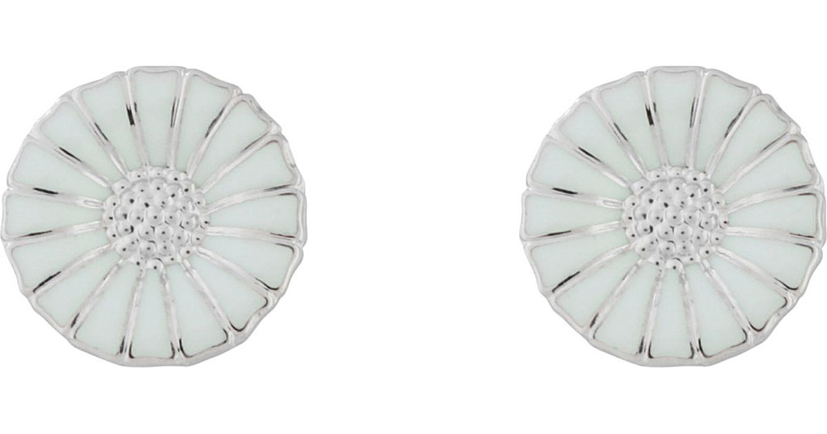 33b25e522 Georg Jensen Daisy Rhodinated Sterling Silver With Enamel Earrings - For  Women in Metallic - Lyst