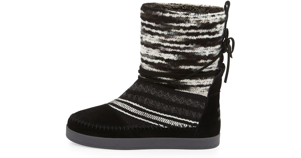 Toms Nepal Striped Suede Boots In Black