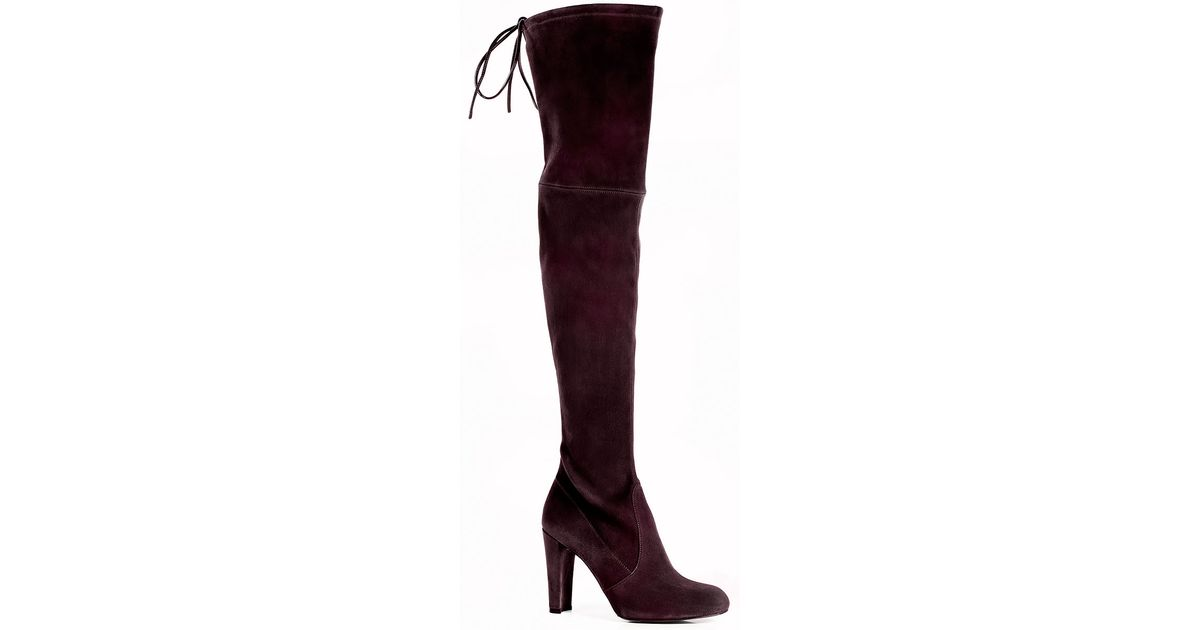 32ae5c7a1a5 Lyst - Stuart Weitzman Highland Over-The-Knee Boot Wine Suede in Red