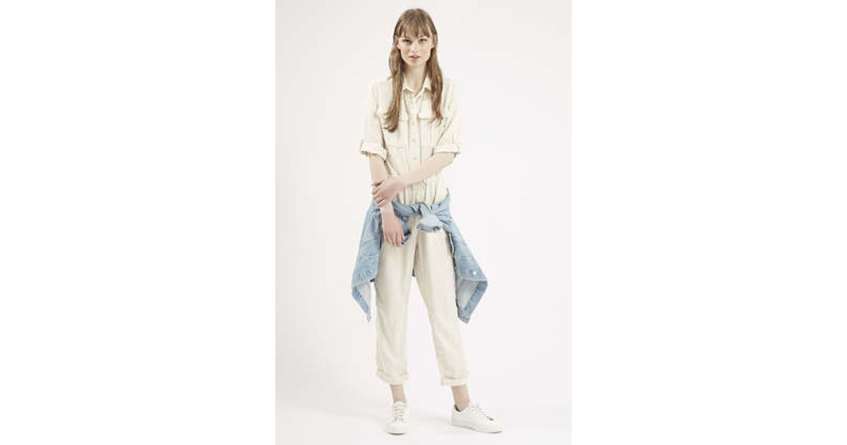 9a50662ad1c Lyst - TOPSHOP Utility Jumpsuit in Natural