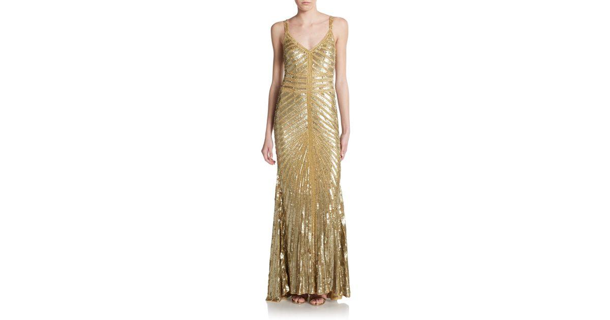 Lyst - Theia Toni Chevron-Pattern Embellished Metallic Gown in Metallic