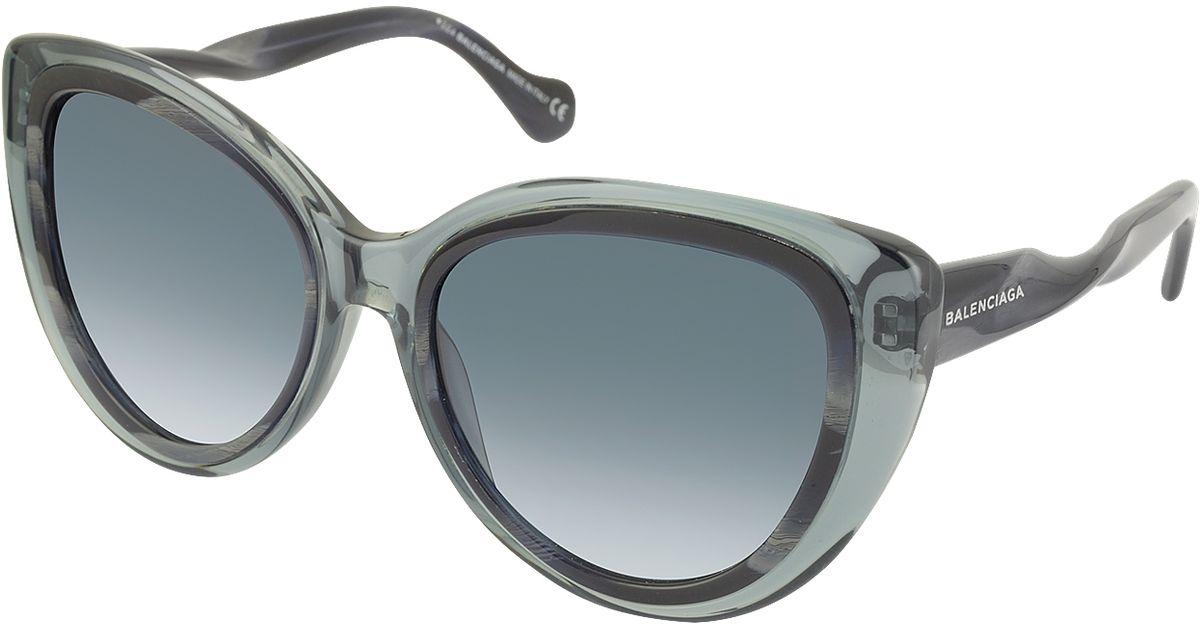 97cb86f6e3653 Balenciaga Ba0026 92w Transparent Grey   Dark Grey Horn Acetate Cat Eye  Sunglasses in Gray - Lyst