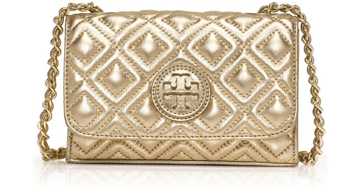a8fbe298077 Lyst - Tory Burch Marion Quilted Metallic Shrunken Shoulder Bag in Metallic