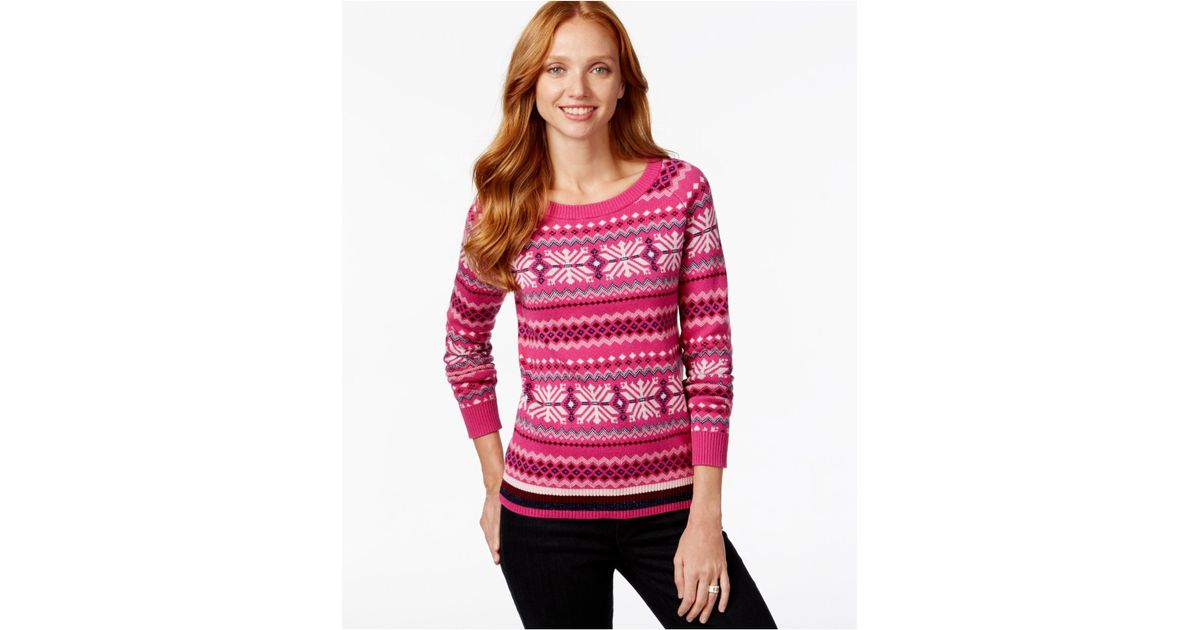 Lyst - Tommy hilfiger Printed Fairisle Sweater in Pink