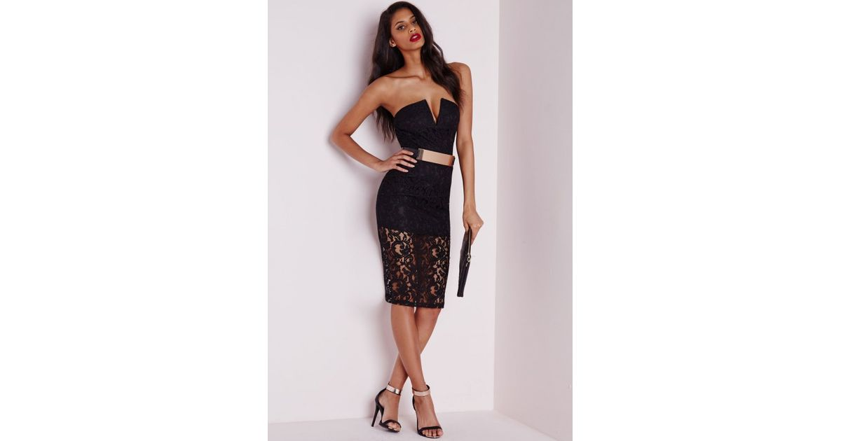 c46a9fdc7cc Missguided Kylie Lace Bandeau Dress Black in Black - Lyst