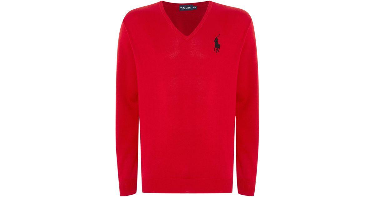 ralph lauren golf polo golf ryder cup v neck sweat in red. Black Bedroom Furniture Sets. Home Design Ideas