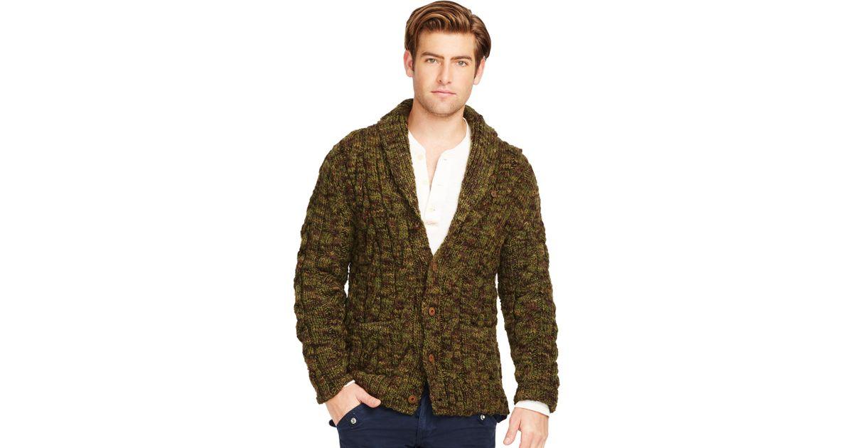 cda4fc0e1 Polo Ralph Lauren Camo Wool Shawl Cardigan in Green for Men - Lyst