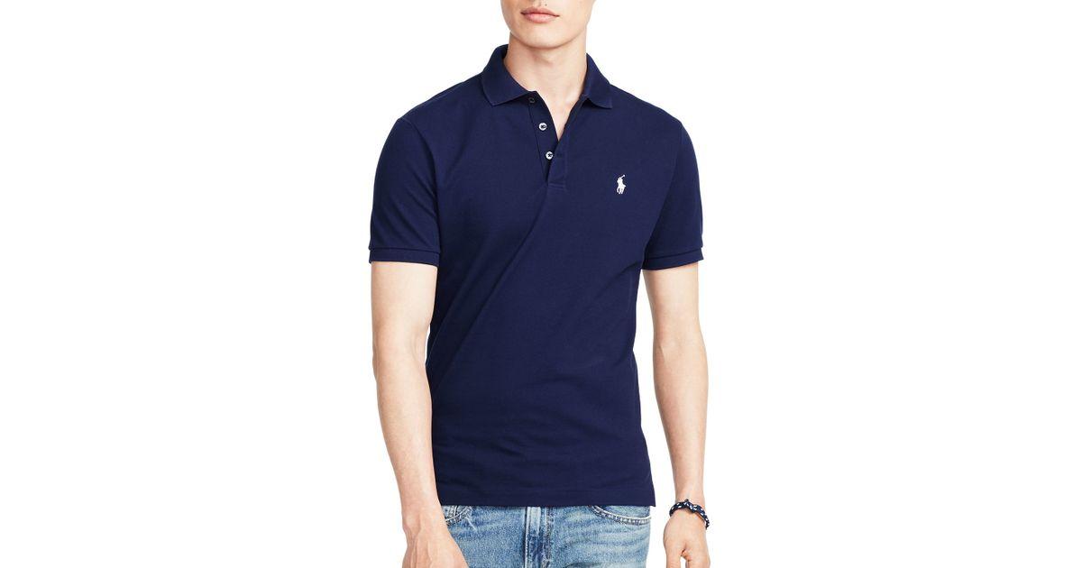 1e5ae740a ... good lyst ralph lauren polo stretch mesh slim fit polo shirt in blue  for men 69e9d