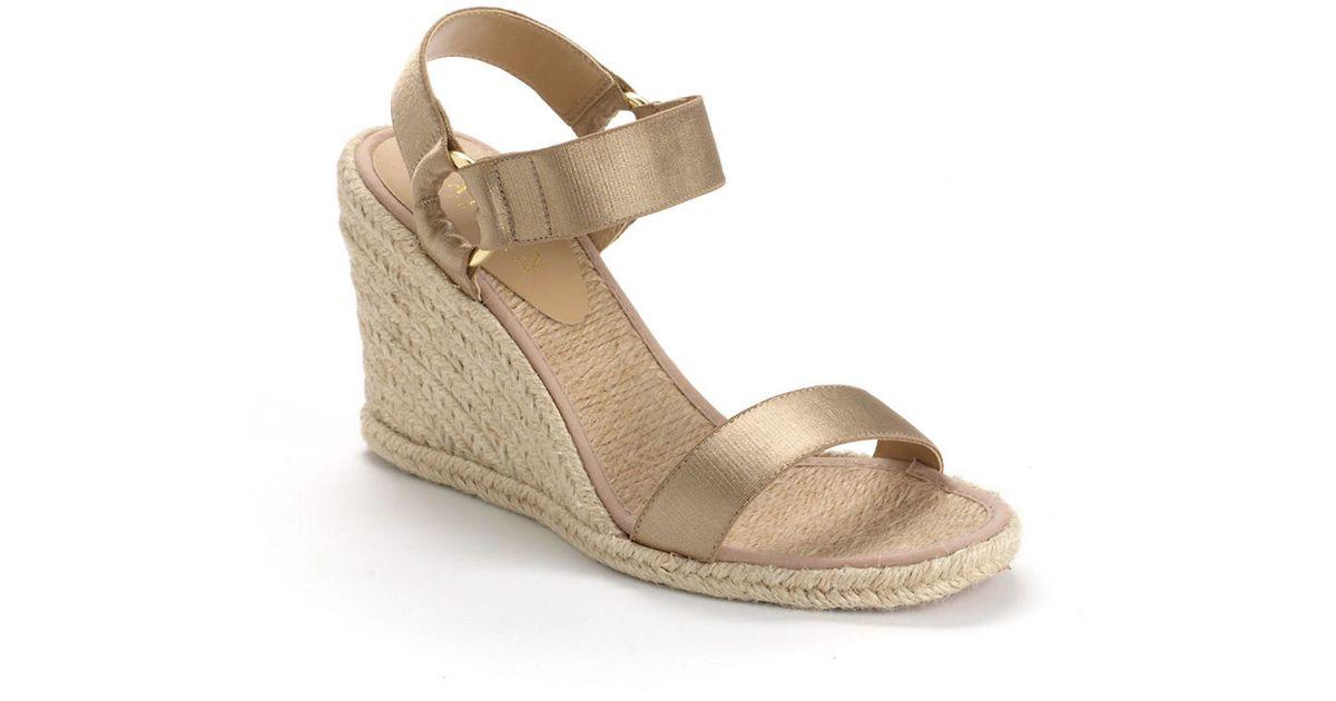 9b8a1d777037 Lyst - Lauren By Ralph Lauren Indigo Banded Espadrille Wedge Sandals in  Natural