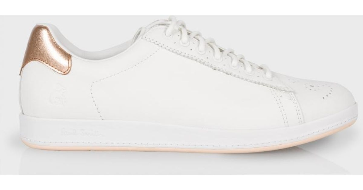Lyst - Paul Smith Women s White Leather  rabbit  Sneakers With Gold Trims  in White d2132dc87