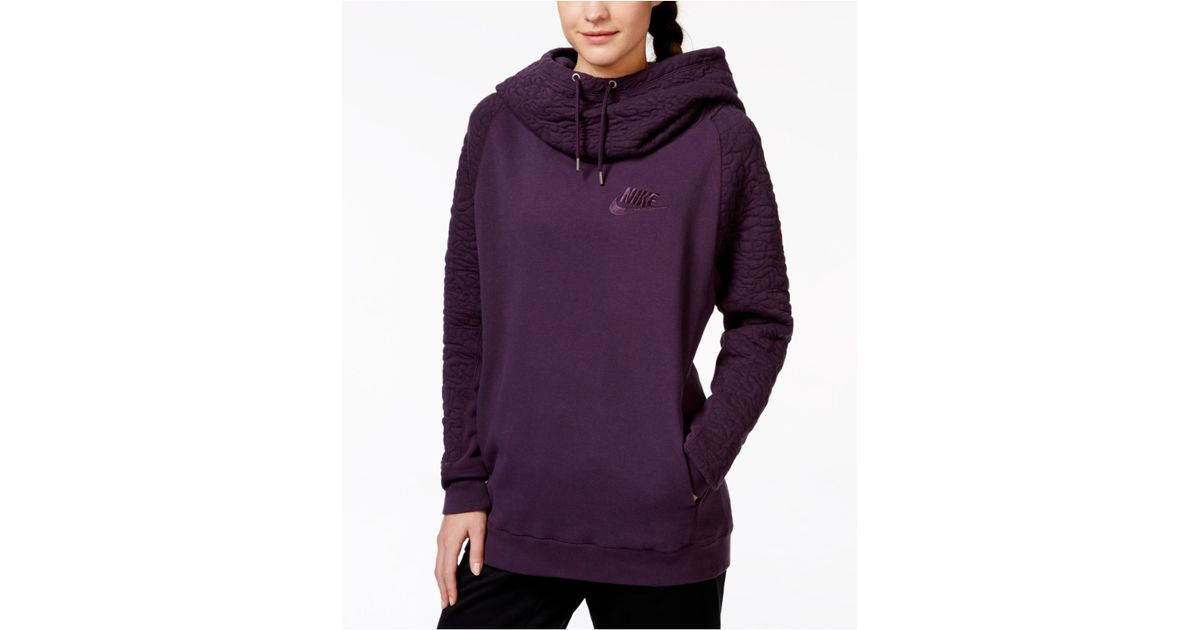 d199744b3df8 Lyst - Nike Rally Quilted Pullover Hoodie in Purple
