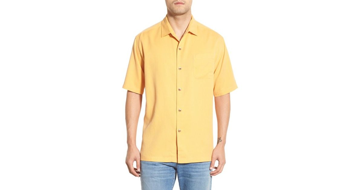 70226c0b2 Tommy Bahama 'san Clemente' Original Fit Silk Camp Shirt in Yellow for Men  - Lyst