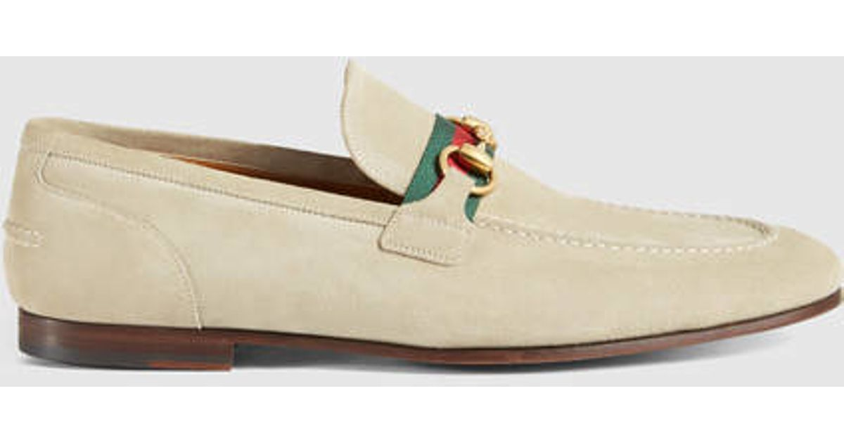 64ed44e747c Lyst - Gucci Horsebit Suede Loafer With Web in Natural for Men