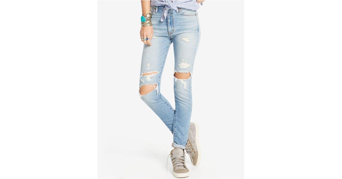 a8b55d7e09c44 Denim & Supply Ralph Lauren High-rise Skinny Jeans in Blue - Lyst