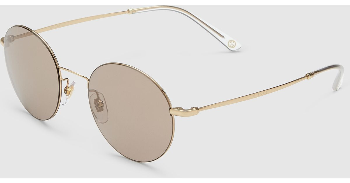 6a4999f5922 Gucci Steel And Metal Round-frame Sunglasses in Gray
