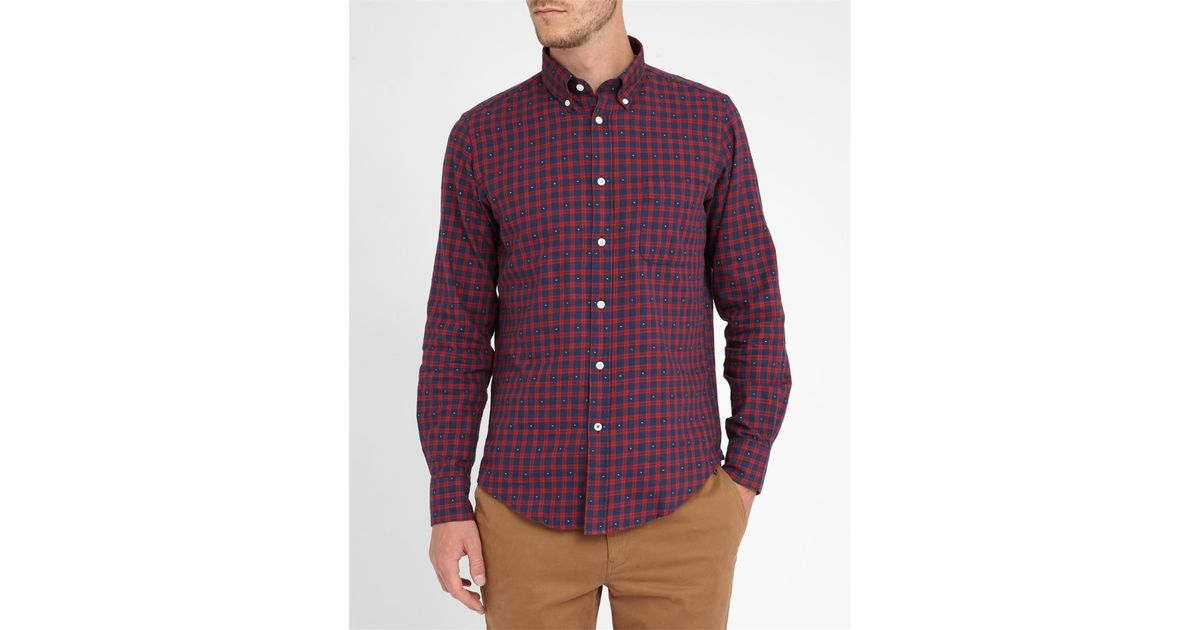 Hartford red with white detail slim fit flannel plaid for Mens slim fit flannel shirt