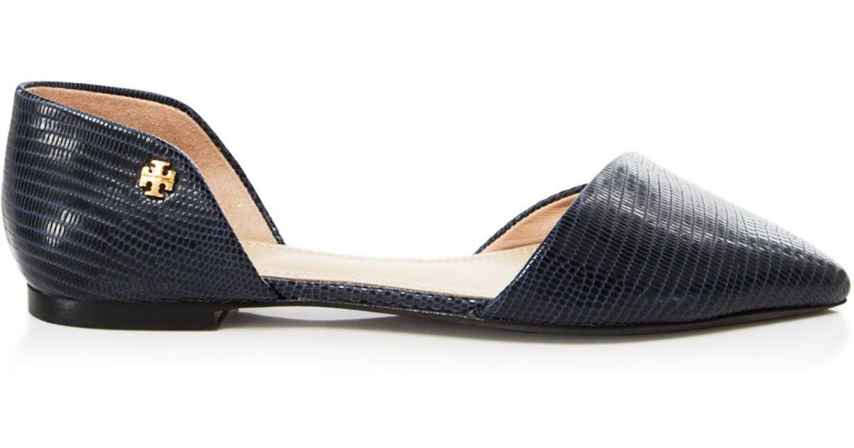 05c1b61b02de Lyst - Tory Burch Pointed Toe D orsay Flats - Viv in Blue