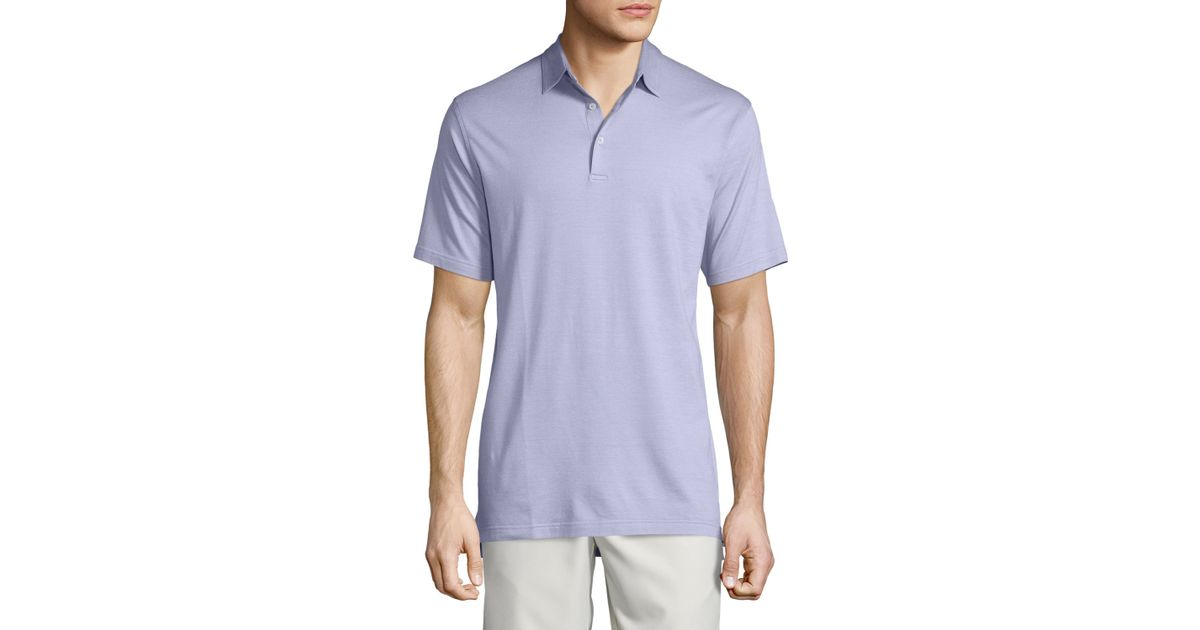 Peter millar short sleeve pique polo shirt in purple for for Peter millar women s golf shirts