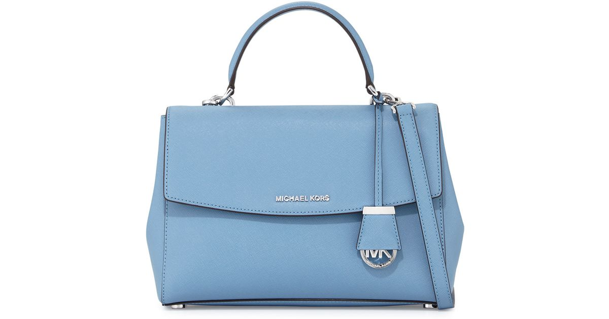 33160ef1a091 Lyst - MICHAEL Michael Kors Ava Medium Saffiano Leather Satchel Bag in Blue