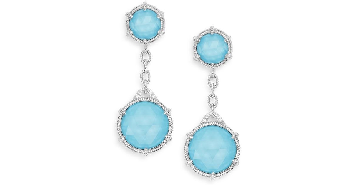 5ce62cc85 Judith Ripka Eclipse Turquoise, White Sappire & Sterling Silver Double-drop  Earrings in Blue - Lyst