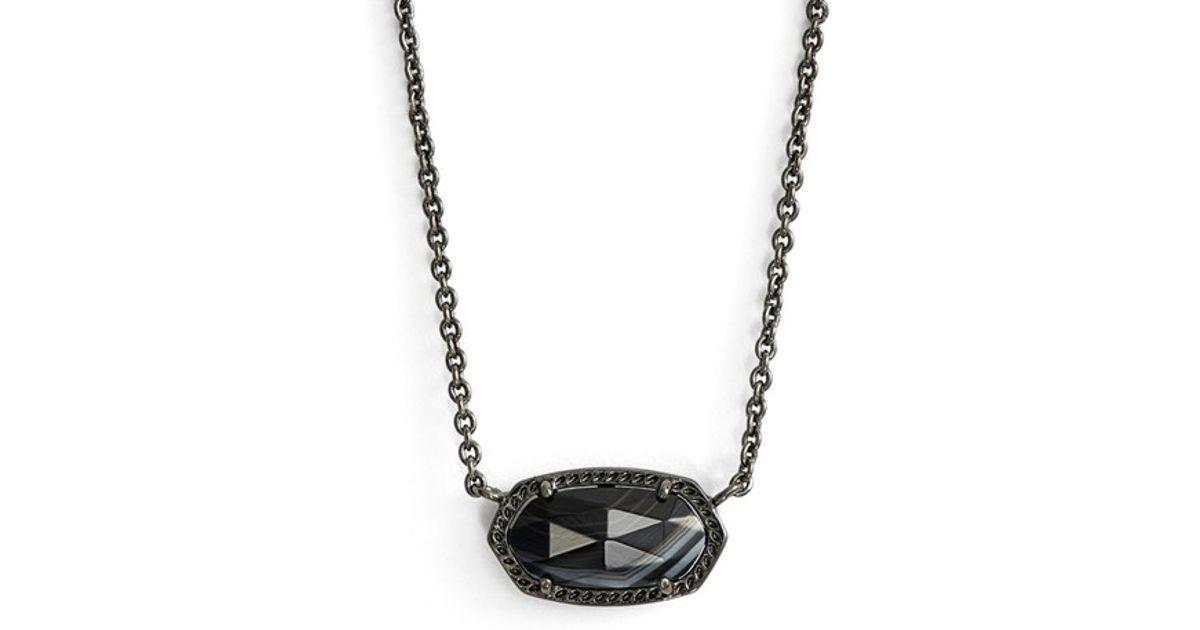 Lyst kendra scott elisa pendant necklace gunmetal black lyst kendra scott elisa pendant necklace gunmetal black banded agate in black aloadofball Images