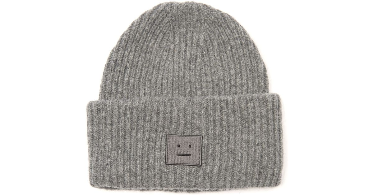Lyst - Acne Studios Pansy Ribbed-Knit Wool Beanie in Gray 761c7c7fc52