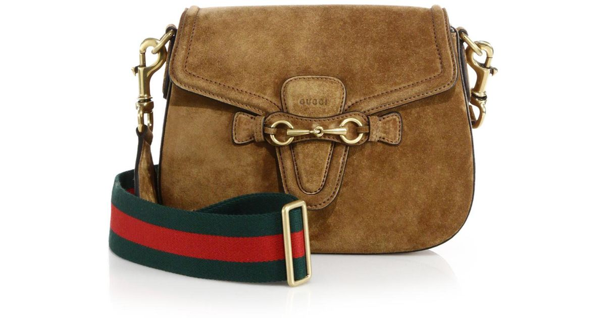 cfd651ee4 Gucci Lady Web Suede Shoulder Bag in Brown - Lyst